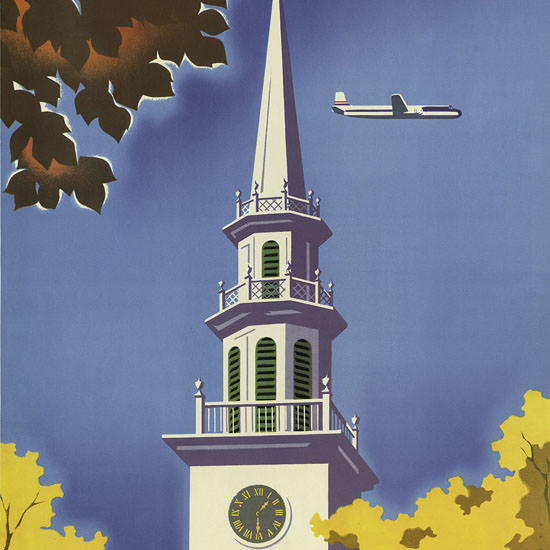 Detail Of United Air Lines New England 1955 | Best of Vintage Ad Art 1891-1970