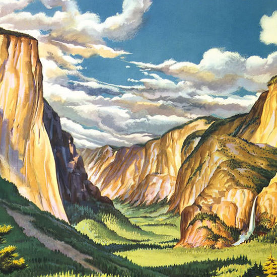 Detail Of United Air Lines Yosemite 1945 B | Best of Vintage Ad Art 1891-1970