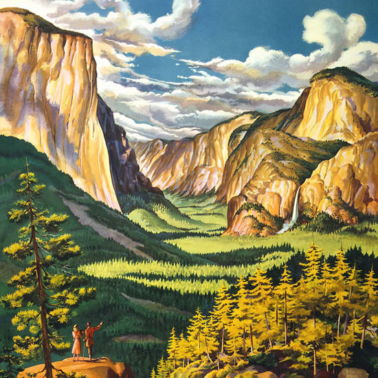 Detail Of United Air Lines Yosemite 1945 | Best of Vintage Ad Art 1891-1970