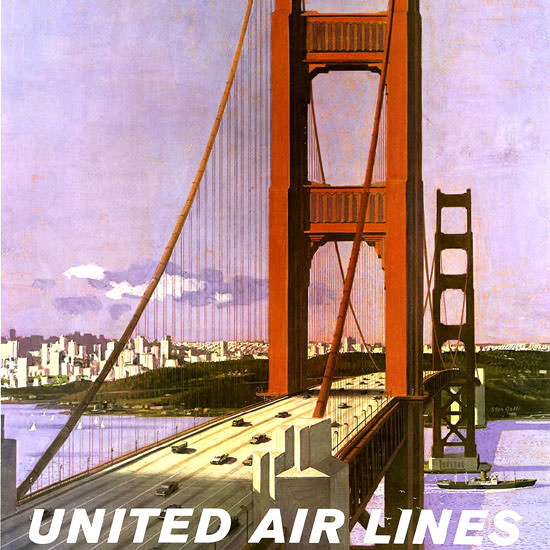 Detail Of United Air San Francisco 1965 Golden Gate Bridge | Best of Vintage Ad Art 1891-1970