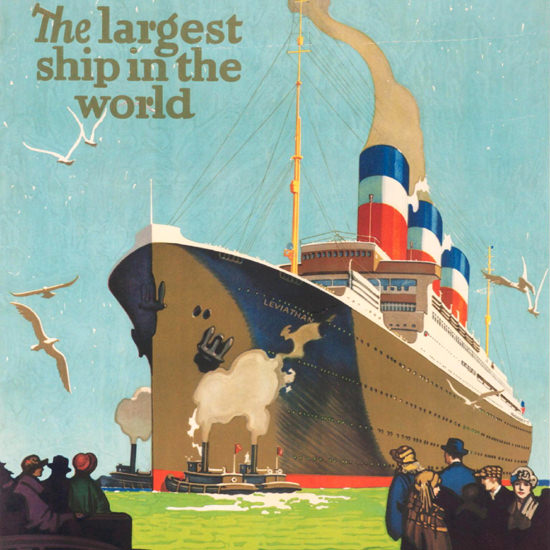 Detail Of United States Lines Leviathan Largest Ship 1925 | Best of Vintage Ad Art 1891-1970