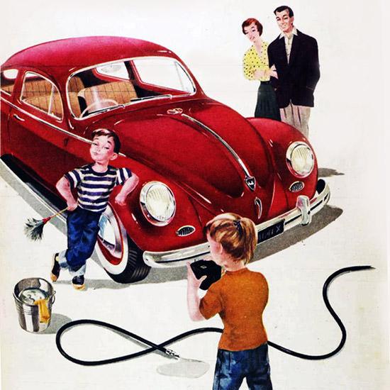 Detail Of VW Volkswagen Beetle A Member Of Family 1958 | Best of Vintage Ad Art 1891-1970