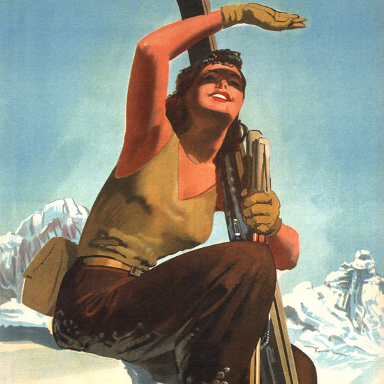 Detail Of Val D Aosta Sport Invernali Gino Goccasile 1947 | Best of Vintage Ad Art 1891-1970