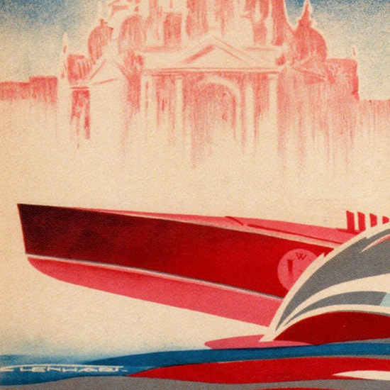 Detail Of Venezia Lido Il Concorso Motonautico 1930 | Best of Vintage Ad Art 1891-1970