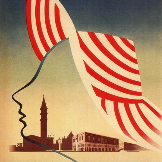 Detail Of Venezia Lido Venice Italy Italia | Best of Vintage Ad Art 1891-1970