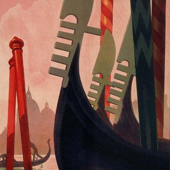 Detail Of Venezia Venice Gondola Italy Italia | Best of Vintage Ad Art 1891-1970