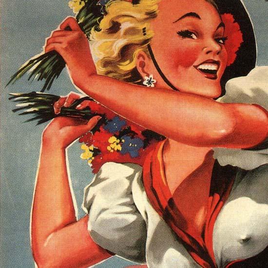 Detail Of Ventimiglia Battaglia Di Fiori 1957 Flower Exhibit | Best of Vintage Ad Art 1891-1970