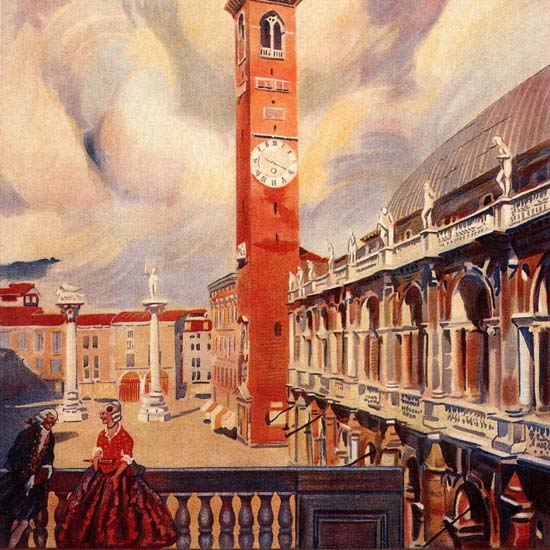 Detail Of Vicenza Venezia Venice Italy Italia | Best of Vintage Ad Art 1891-1970