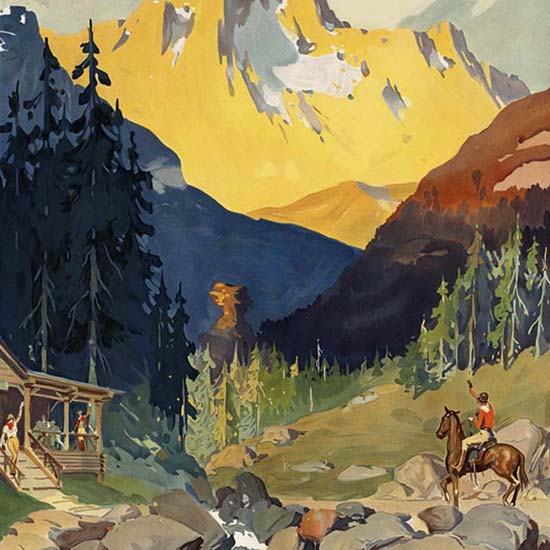 Detail Of Visit Your Far West National Parks Canada USA | Best of Vintage Ad Art 1891-1970