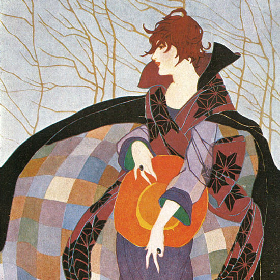 Detail Of Vogue Copyright 1919 Art Nouveau Lady In Colorful Coat | Best of Vintage Ad Art 1891-1970