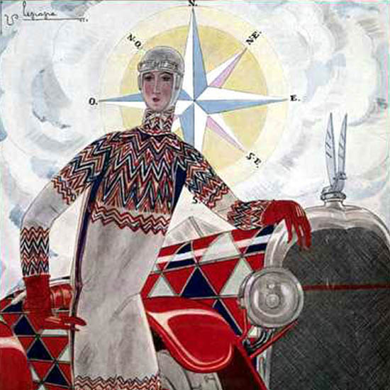 Detail Of Vogue Copyright 1925 Compass Rose Lady Wonderful Car | Best of Vintage Ad Art 1891-1970