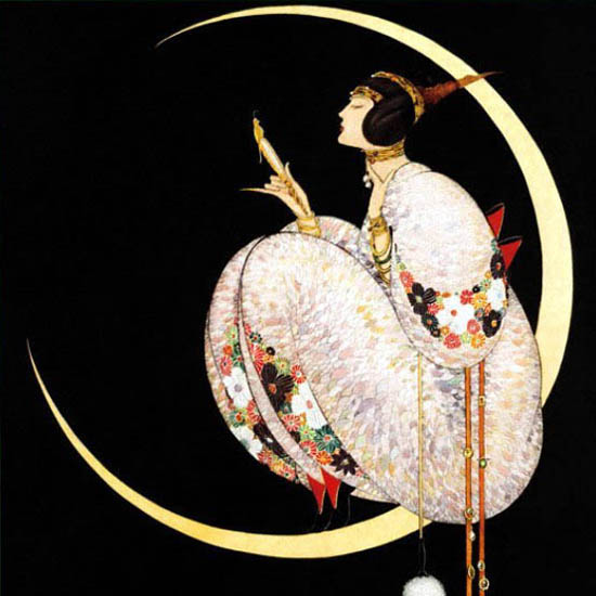 Detail Of Vogue Cover Copyright 1917 Lady On The Moon | Best of Vintage Ad Art 1891-1970