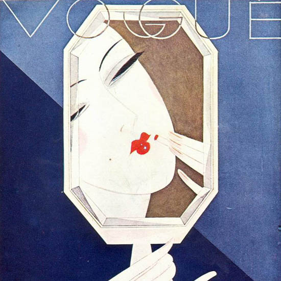 Detail Of Vogue Cover The Makeup Mirror And The Lady | Best of Vintage Ad Art 1891-1970