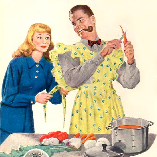 Detail Of Wear Ever Aluminum Utensils 1947 Kitchen Man | Best of Vintage Ad Art 1891-1970