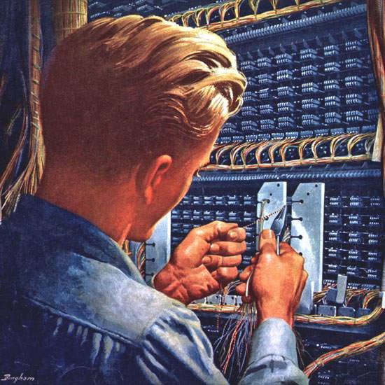 Detail Of Western Electric Good Connections 1949 | Best of 1940s Ad and Cover Art