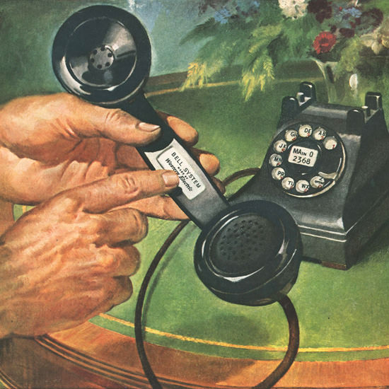 Detail Of Western Electric Telephone Felt Our Name Lately | Best of Vintage Ad Art 1891-1970