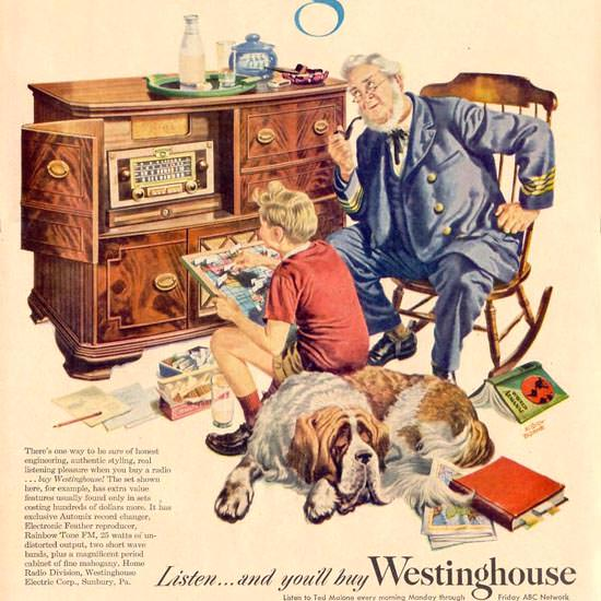 Detail Of Westinghouse Radio Ted Malone ABC 1948 | Best of Vintage Ad Art 1891-1970