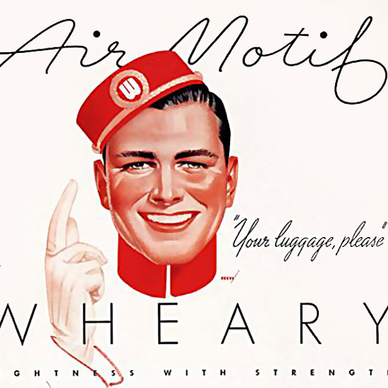Detail Of Wheary Air Motif Luggage | Best of Vintage Ad Art 1891-1970