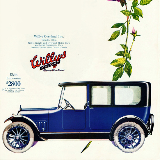 Detail Of Willys Knight Eight P Limousine 1918 Toledo | Best of Vintage Ad Art 1891-1970
