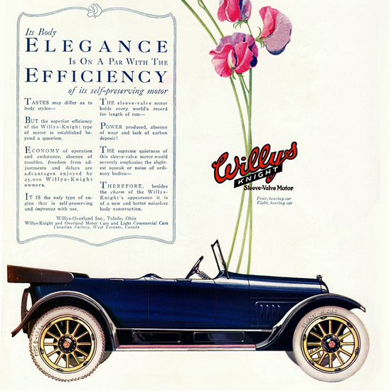 Detail Of Willys Knight Four P Touring Car 1918 Toledo | Best of Vintage Ad Art 1891-1970