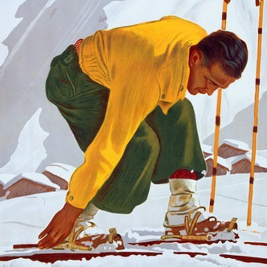 Detail Of Winter In Switzerland Skiing Mountains E Hermes | Best of Vintage Ad Art 1891-1970
