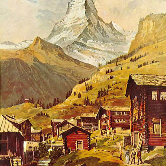 Detail Of Zermatt Chemins Fer Zermatt-Gornergrat 1898 | Best of Vintage Ad Art 1891-1970
