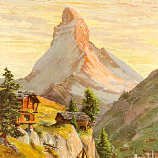 Detail Of Zermatt Matterhorn Schweiz Switzerland 1904 | Best of Vintage Ad Art 1891-1970