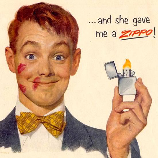 Detail Of Zippo And She Gave Me A Zippo 1953 | Best of Vintage Ad Art 1891-1970