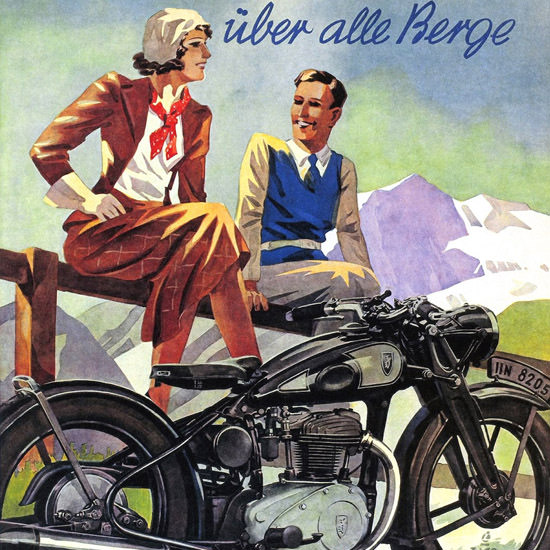 Detail Of Zuendapp Motorcycles Ueber Alle Berge 1938   Best of 1930s Ad and Cover Art