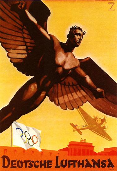Deutsche Lufthansa Olympics Berlin 1936 Ikarus | Vintage Travel Posters 1891-1970