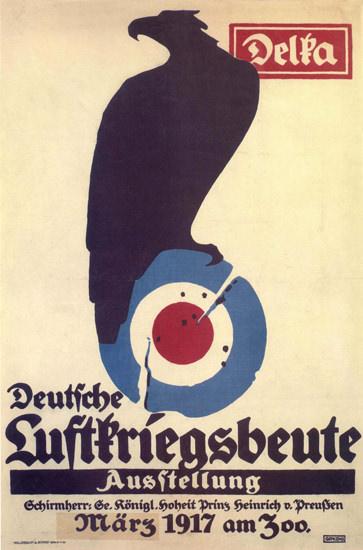 Deutsche Luftkriegsbeute Ausstellung 1917   Vintage War Propaganda Posters 1891-1970