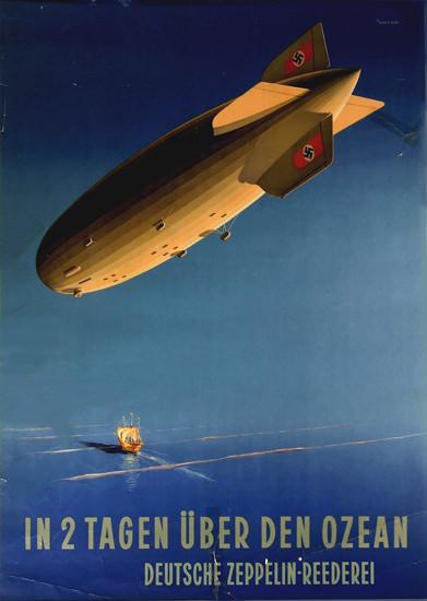 Deutsche Zeppelin Reederei Ueber Ozean 1935 | Vintage Travel Posters 1891-1970