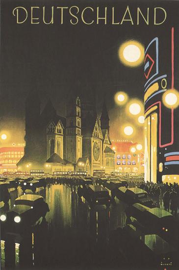 Deutschland Berlin By Night Germany | Vintage Travel Posters 1891-1970