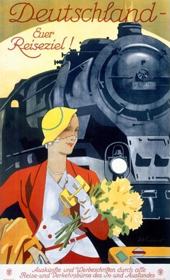 Deutschland Euer Reiseziel Lokomotive 1928 | Sex Appeal Vintage Ads and Covers 1891-1970