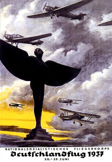 Deutschlandflug 1937 NS Fliegerkorps   Vintage War Propaganda Posters 1891-1970