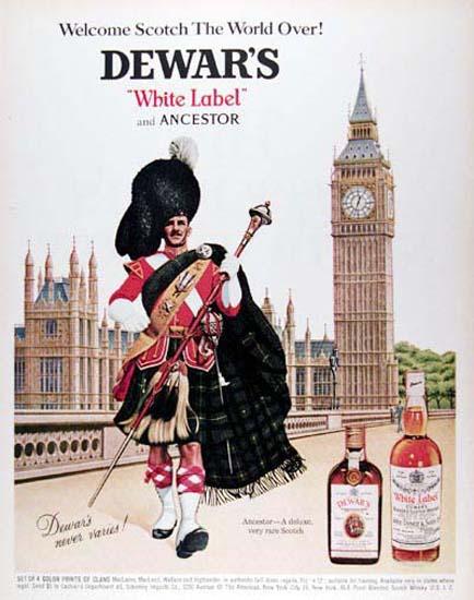 Dewars Whiskey White Label 1967 Highlander | Sex Appeal Vintage Ads and Covers 1891-1970
