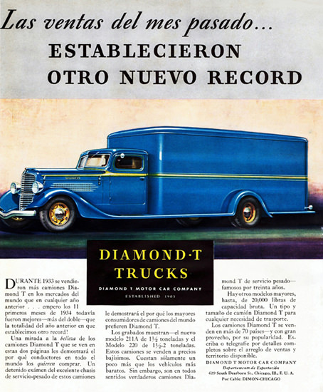 Diamond T Truck Van Chicago 1934 | Vintage Cars 1891-1970