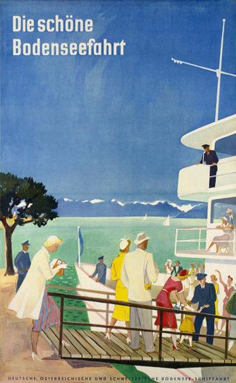 Die Schöne Bodenseefahrt 1950 Lake Constance | Vintage Travel Posters 1891-1970
