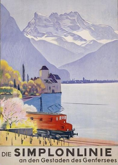 Die Simplonlinie Genfersee 1949 Lake Geneva | Vintage Travel Posters 1891-1970