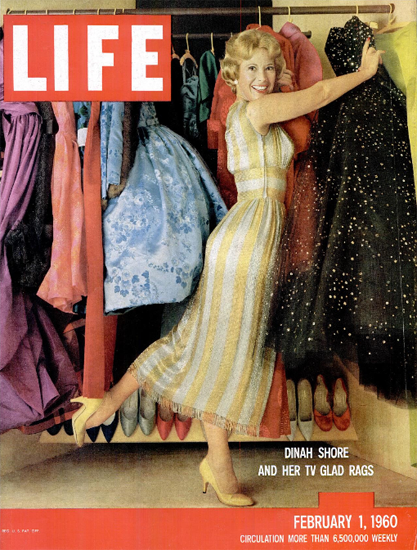 Dinah Shore and her TV glad Rags 1 Feb 1960 Copyright Life Magazine | Life Magazine Color Photo Covers 1937-1970