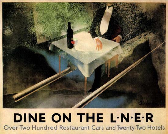Dine On LNER Restaurant Cars 1928 A Alexeieff | Vintage Travel Posters 1891-1970