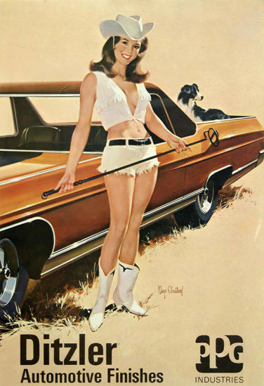 Ditzler Automotive Finishes Cow Girl PPG | Sex Appeal Vintage Ads and Covers 1891-1970
