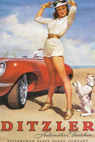 Ditzler Automotive Finishes Girl Dog 1960s | Sex Appeal Vintage Ads and Covers 1891-1970