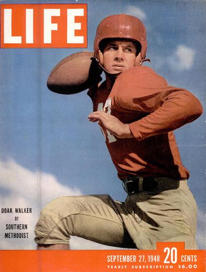 Doak Walker Football 27 Sep 1948 Copyright Life Magazine | Life Magazine Color Photo Covers 1937-1970