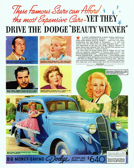 Dodge Beauty Winner 1936 Shirley Temple | Vintage Cars 1891-1970