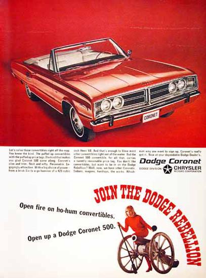 Dodge Coronet 500 Convertible 1966 Rebellion | Vintage Cars 1891-1970