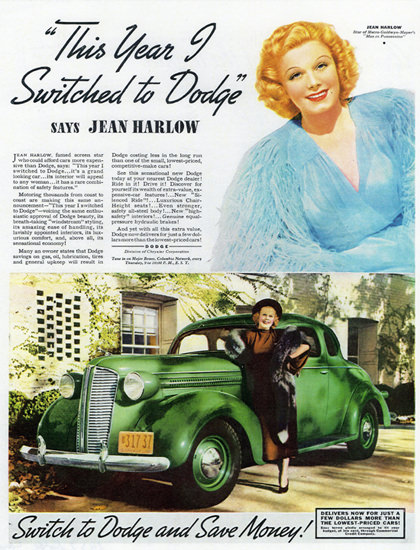 Dodge Coupe Jean Harlow Switch 1937 | Vintage Cars 1891-1970