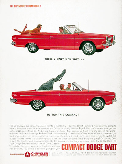 Dodge Dart GT Convertible 1963 Red | Vintage Cars 1891-1970