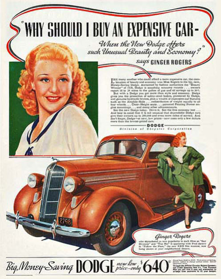 Dodge Ginger Rogers Beauty Economy | Sex Appeal Vintage Ads and Covers 1891-1970