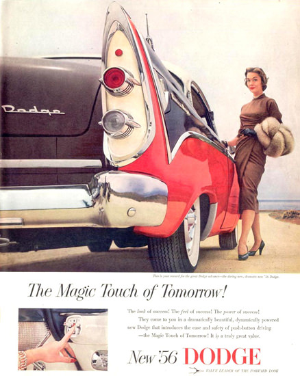 Dodge Magic Touch Girl 1955 | Sex Appeal Vintage Ads and Covers 1891-1970
